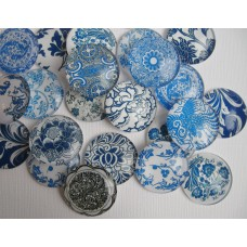 Cabochons Floral blau 5er Mix 30mm