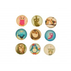 Cabochons Eulen, 5er Mix, 10mm
