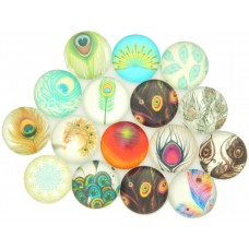 Cabochons Federn, 5er Mix, 14mm