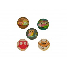 Cabochons Eulen, 5er Mix, 16mm