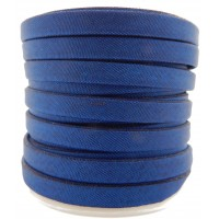 Trendy flache Kordel, Satin, blau 5x2mm
