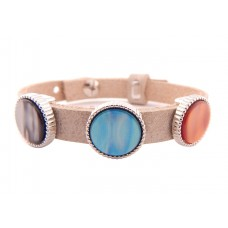 Cuoio Armband mit Cabochons, beige