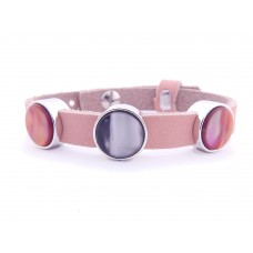 Cuoio Armband mit Cabochons, rosa